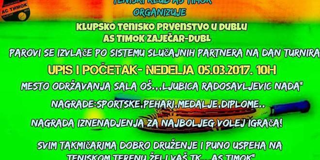 Teniski turnir: AS Timok Zaječar organizuje DUBL -Slučajni partneri