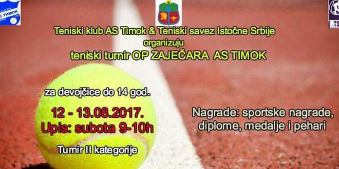 Teniski turnir za devojčice u subotu, 12. avgusta u Zaječaru