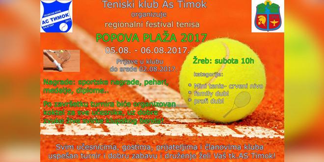 """Festival tenisa """"Popova plaža 2017″ 5. i 6. avgusta u Zaječaru"""