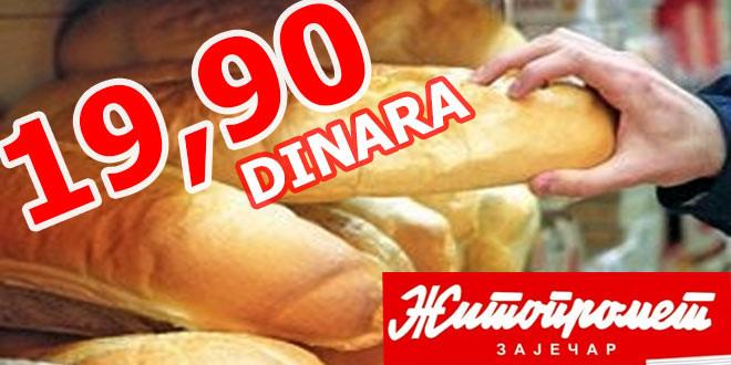 """Žitoprometov beli hleb """"Jubilarac"""" do 1. oktobra 19.90 dinara"""
