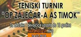 Teniski turnir za takmičare do 10 godina u subotu u Zaječaru