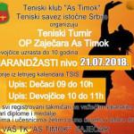 Tenis: Turnir za dečake i devojčice do 10 godina, 21. jula na Popovoj plaži