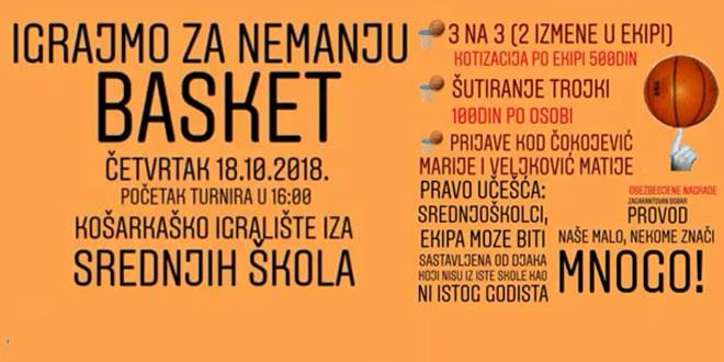 """Humanitarni turnir """"IGRAJMO ZA NEMANJU"""" sutra u Zaječaru"""