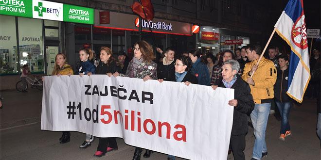 """U Zaječaru održan sedmi protest """"Jedan od pet miliona"""""""