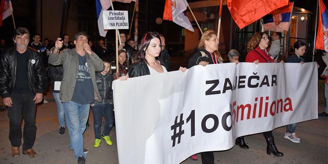 """Zaječar:  Održan deseti protest """"1 od 5 miliona"""""""