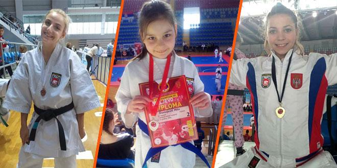 Karate: Zaječarke Iva Mihajlović, Mila Stanojević i Anđela Ivanović iz Kraljeva donele zlato, srebro i bronzu