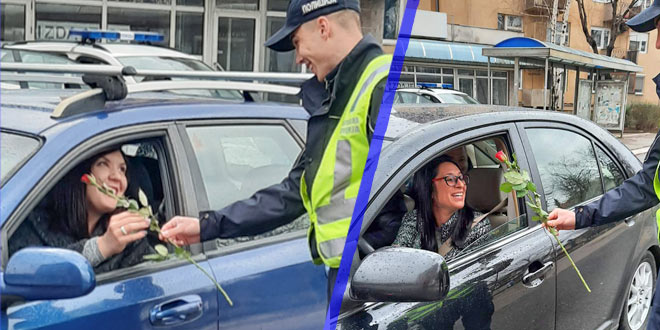 Zaječar: Uz osmeh i ruže, saobraćajni policajci damama čestitali 8. mart